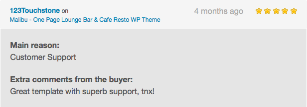 Malibu - One Page Lounge Bar & Cafe Resto WP Theme